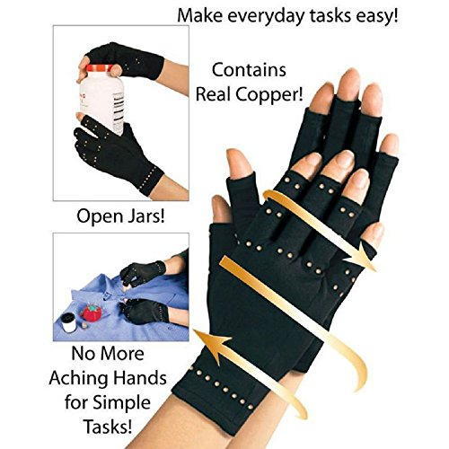 CAMMITEVER Pack of 2 - Arthritis Gloves Fingerless Copper Gloves Compression Medical Support Gloves Therapeutic Compression Men Woman Circulation Grip (Medium)