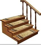 "Stair Treads Carpet Non-Slip – Stair Runners for Wooden Steps Non Slip – Rubber Back Stair Rugs – Pet Dog Carpet for Stairs - Stairway Carpet Rug – Set of 7 Emy Beige (8.5"" x 26"")"