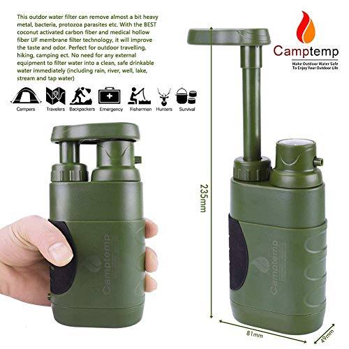 Product Image 4: Portable Water Purifier Pump with Replaceable Carbon Water Filter,Water Filter Purifier Hand Operat Pump Purification System for Backpacking Survival Camping Hiking Emergency Disaster for Home&Outdoor