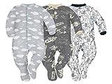 Sibinulo Garçons Filles Pyjama Bébé Grenouillère Lot de 3 Nuages, Cosmos et éléphants Noirs 74(6-9 Mois)