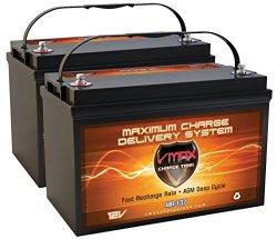 QTY2 VMAX MR137-120 12V 120AH AGM Deep Cycle Group 31 Batteries for 24 Volt 24V...
