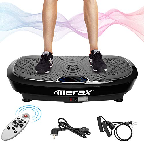 Merax Vibrationsplatte mit Dual Motoren, 3D Wipp für zu Hause. Inkl.Trainingsbändern + Fernbedienung + Integrierter Lautsprecher Ganzkörper Trainingsgerät