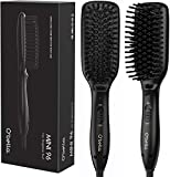 O'Bella Hair Straightener Brush Dual-Voltage 45 Second Fast Heat Up, 28mm Long&High Density Comb Teeth Anion Hair Straightener Brush for Long Curly Hair