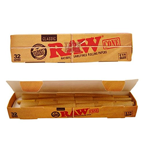 Raw Classic Cone 1-1/4 Size Unrefined Rolling Papers 32 Ct by Raw