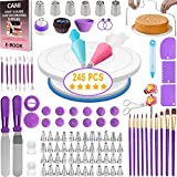 Cani 245 PCS Cake Decorating tools-kit with Rotating Cake Turntable Stand 54 Numbered Piping Tips Set with Pattern Chart 2 Cake Spatulas Fondant tools Cake Baking-Decorating Supplies for Beginners