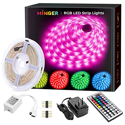 MINGER LED Strip Lights, 16.4ft RGB LED Light Strip 5050 LED Tape...