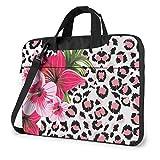 XCNGG Bolso para computadora portátil con Estampado de Leopardo de Flores, maletín a Prueba de Golpes, Tableta, Bolso de Mano para Viaje de Negocios, Oficina de 14 Pulgadas