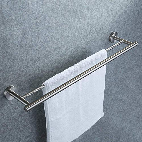 Doppelter Handtuchhalter, Dailyart Badezimmer Handtuchstange Bad Ohne Bohren für Wandmontage 70cm Handtuchhalter Edelstahl Gebürstet zum Kleben Einfache Montage