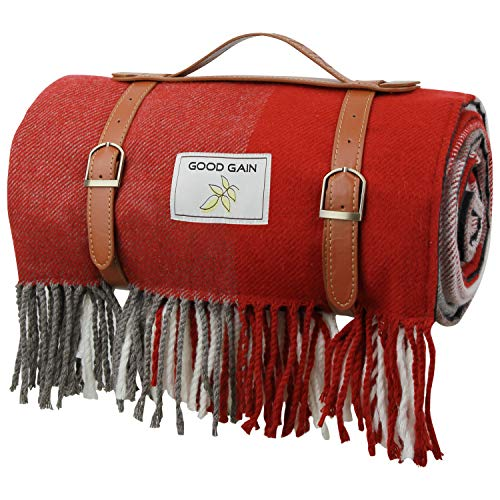 Good Gain Waterproof Picnic Blanket, 60X80inch Extra Large Foldable Beach Rug with Luxury PU Leather Carrier, Portable Sandproof Picnic Mat for Hiking Camping.Red Square