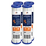 Aquaboon 1 Micron 10' x 2.5' Pleated Sediment Water Filter Cartridge | Universal Replacement for Any 10 inch RO Unit | Compatible with R50, 801-50, WFPFC3002, WB-50W, SPC-25-1050, WHKF-WHPL, 4-Pack