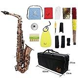 ammoon Saxophone Alto mi bémol Sax en bronze rouge Motif clé en coquille d'ormeau avec gant de protection, lanières de chiffon, brosse