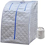 Durherm Portable Personal Therapeutic Spa Home Steam Sauna Weight Loss Slimming Detox (Blue Outline)