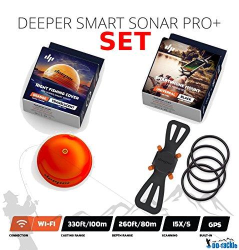 Deeper Sonar Smart PRO + Set Night Fishing Cover & Smartphone Supporto per Personal Communication