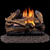 Duluth Forge Ventless Dual Fuel Gas Log Set-18 in, Split Red Oak - Remote Control