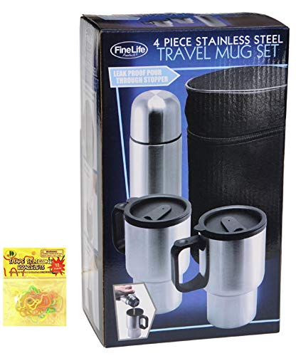 4 Piece Stainless Steel Travel Mug Thermos Gift Set Top Unique Last Minute Birthday Valentine Day Gift for Men Dad Him Guys Father In Law Boss with Silly Bands