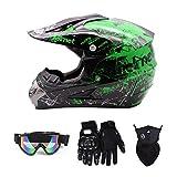 SanQing Motocross Helmet Fashion Youth Dirt Bike Helmet Unisex-Adult Dirt Bike Off-Road Mountain Bike Motorcycle Helmet DOT Approved (Gloves Goggles Face Shield) 4Pcs Set (Green, Medium)