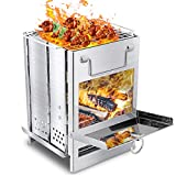 And one Wood Burning Camping Stove Stainess Steel Folding Portable Stove Backpacking Stove for Camp BBQ Hiking Picnic…