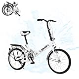 20in Folding Bikes for Adult, MTY-077 Mini Urban Commuters Bicycle, Rear Carry Rack, Multiple Colors (C White)