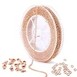 33 Feet Rose Gold Plated Brass Thin Dainty Cable O Chain Spool Bulk for Craft DIY Jewelry Making (Rose Gold Chain)