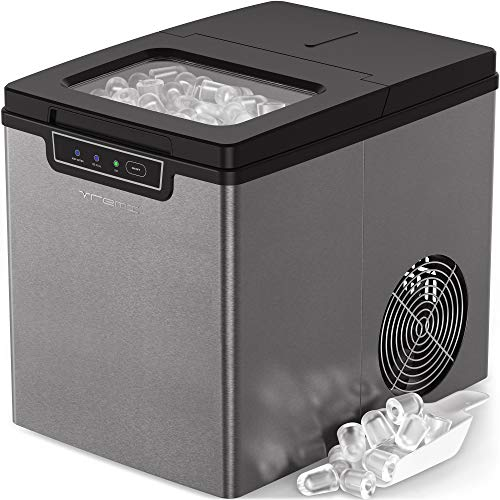 Vremi Countertop Ice Maker - Ice Cubes Ready in 9 Mins - Perfect for Water Bottles, Mixed Drinks - Portable Small Stainless Steel Ice Maker with Ice Scoop and Basket - Silver and Black
