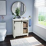 "Twin Star Home White Style Freestanding Set 30"" Single Bathroom Vanity with Sliding Barn Door Sink"