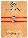 Upgraded 2pcs 7 Knots Evil Eye Bracelet Adjustable Lucky Red String Bracelet Set Protection Friendship Wish Bracelets for Women Men Boy Girl Him Her BFF Friend Gifts with Message Card
