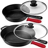 Pre-Seasoned Cast Iron Skillet Set (8-Inch and 12-Inch) with Glass Lids - Oven Safe Cookware - Heat-Resistant Holders - Indoor and Outdoor Use - Grill, Stovetop, Induction Safe