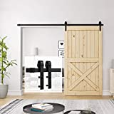 Homlux 8ft Heavy Duty Sturdy Sliding Barn Door Hardware Kit Single Door One Rail - Smoothly and Quietly - Simple and Easy to Install - Fit 1 3/8-1 3/4' Thickness Door Panel(Black)(J Shape Hangers)