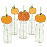 Big Dot of Happiness Pumpkin Patch Paper Straw Decor - Fall or Halloween Party Striped Decorative...