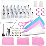 Cake Decorating Supplies Kit POQOD 53-in-1 Stainless Steel Numbered Icing Tips Set with Silicone Pastry Bags Icing Smoother Piping Nozzles Coupler Flower Nails Lifter for DIY Cupcakes Baking Tools
