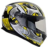Vega Helmets 6115-164 Ultra Full Face Helmet for Men & Women (Yellow Shuriken Graphic, Large) 1 pack