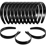 Hestya 1 Inch Black Plain Craft Plastic Headbands with Teeth Plastic DIY Hair Accessories Headbands Headwear (40 Pack)