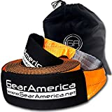 GearAmerica Recovery Tow Straps 4' x 30' | Ultra Heavy Duty 45,000 lbs (22.5 US Tons) Strength | Use for Emergency 4x4 Towing or Recovery | Triple Reinforced Loops, Protective Sleeves, & Bag