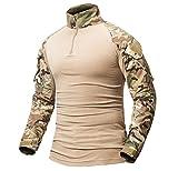 ShallGood Homme Chemises Combat Militaire Airsoft BDU Shirt Tenue Camouflage Uniforme Tactique Séchage Rapide avec Poches Coudières Manches Longues Chemise Multicam C Kaki X-Large