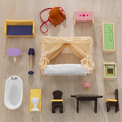 Image 10 - Kidkraft - 65023 - Maison de Poupées en Bois Savannah Incluant Accessoires et Mobilier, 4 Étages de Jeu pour Poupées 30 cm