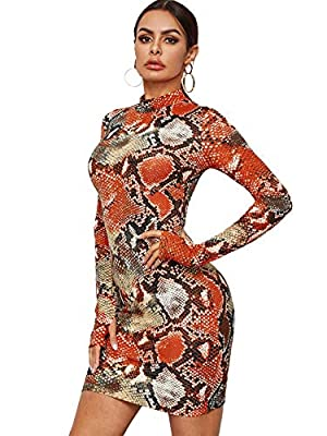 95% Polyester, 5% Spandex, fabric has some stretch Mock neck, long sleeve, snake print, slim fit, sexy thumb hole bodycon short dress This mini dress is suitable for party, cocktail, wedding, club, wedding and daily wear Pair with high heels and addi...