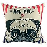 Luxbon Lovely Hug Pug Dog Cotton Linen Throw Pillow Cover Sofa Couch Chair Bedroom Decorative Adorable Puppy Pet Dog Animal Decor Cushion Cover 18 x 18/45X45cm