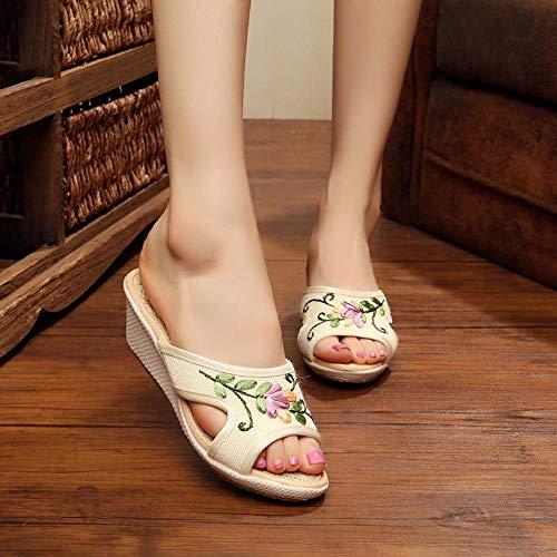Zapatos Bordados para Mujeres Flor 3D Bordada Hecha A Mano para Mujeres De Lino Cuña Alpargatas Zapatillas De Verano Damas Cómodas Zapato De Tobera De Tacón Alto Tacones Bordados Linyn
