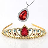 Vinjewelry Elena of Avalor Tiara Necklace Teardrop Jewelry Set Princess Costume Accessories Crown with Simulated Ruby Gifts