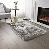 Ultra Soft Faux Fur Area Rug Grey Fluffy Rug Plush Chair Cover Seat Pad Fuzzy Carpet Furry Besides Rug for Bedroom Floor Sofa Living Room 2x4 Feet SERISSA (Rectangular, Light Grey)