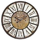 emotion 34326 Horloge Charme INDUS DIAMETRE 60, Métal, Marron et Blanc, 4 x 60 x 60 cm