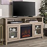 Walker Edison Furniture Company Rustic Wood and Glass Tall Fireplace Stand for TV's up to 64' Flat Screen Living Room Storage Cabinet Doors and Shelves Entertainment Center, 32 Inches, Driftwood