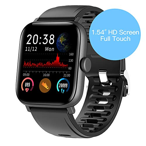 RUNDOING 1.54 inch Full Touch Screen Smart Watch for Android iOS Phones IP68 Waterproof,Fitness Tracker with Sleep/Heart Rate Monitor,Step/Calorie Counter,Smartwatch for Women Men Girls