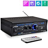 Bluetooth Mini Stereo Power Amplifier  2x120W Dual Channel Sound Audio Receiver Entertainment w/ Remote, for Amplified Speakers, CD DVD, MP3, Theater Via 3.5mm RCA Input, Studio Use  Pyle PCAU48BT