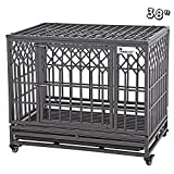 SMONTER 38' Heavy Duty Dog Crate Strong Metal Pet Kennel Playpen with Two Prevent Escape Lock, Large Dogs Cage with Wheels, Y Shape, Dark Silver … …