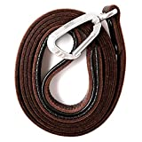 Mighty Paw Leather Dog Leash | 6 Ft Leash. Super Soft Padded Handle Leather Lead with Extra D-Ring for Waste Bags. Strong Climbers Clip, Perfect Medium and Large Dog Leash. (Brown)