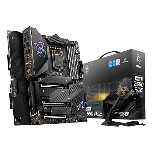 MSI MEG Z590 ACE Gaming Mainboard ATX unterstützt Intel-Prozessoren 11. Generation, LGA 1200, Mystic Light, 16+2+1 Phase 90A SPS, DDR4-Boost (5600 MHz/OC), 2x PCIe 4.0 x16, 4x M.2 Gen 4/3 x4, Wi-Fi 6E