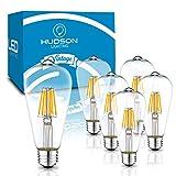 Dimmable LED Edison Light Bulbs: 6 Watt, 4000K Cool White Lightbulbs - 60W Equivalent - E26 Base - Vintage Light Bulb Set - 6 Pack