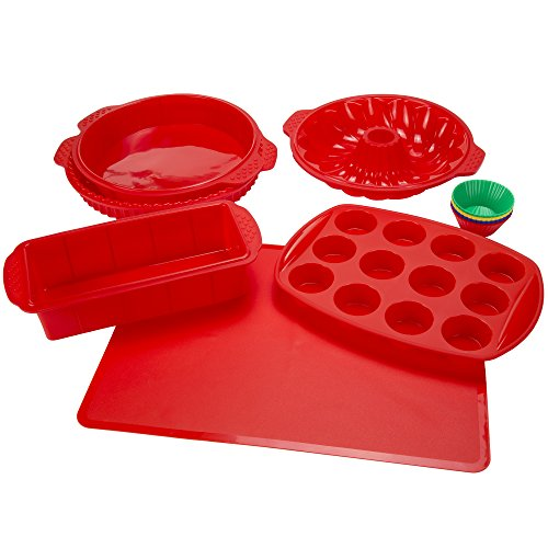 Classic Cuisine Silicone Bakeware, 18-Piece Set Including Cupcake...