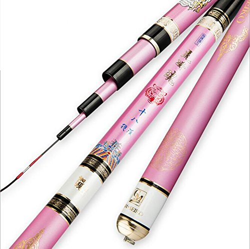 ns SN Carbonio telescopico Rosa Canna da Pesca Super Difficile Ultraleggero Carpa Polo 3.6M-7.2M (Dimensioni : 4.8m)